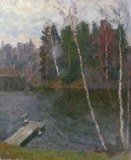 Tableau : Paysage ponton en bord de rivière - HST école russe, signée 1886