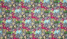 COTONE JERSEY Monkeys & Elephants GRIGIO COLORATO Jersey Tessuto a metraggio tessuto per bambini