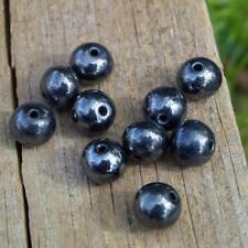Vintage Metallic Gun Metal Grey 8mm Loose Glass Beads German NOS Jewelry Supply