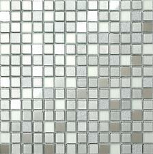 Glass Mosaic Tiles Wall Mirror Frosted & Silver Foil Basin Shower GTR10046