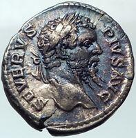 SEPTIMIUS SEVERUS 208AD Silver Ancient Roman Coin Genius Cult   i41079