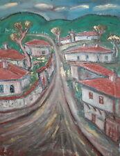 Vintage oil painting expressionist village signed
