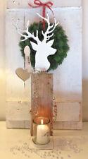 Windlicht Säule Hirsch weiß Metall Kerzenständer mit Glas Holz Weihnachten 55cm