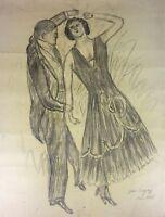 DANSE DE COUPLE. DESSIN. FUSAIN SUR PAPIER. JEAN POUGNY. FRANCE. 1928