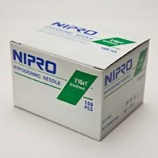 "Nipro 21G x 1 "" Hypodermic Needle -Box of 100- Comes in Sterile Blister Pack"