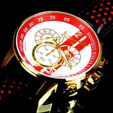 Invicta S1 Rally Racing White Red Gold Plated Chronograph GMT Leather Watch New