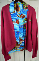 Vintage Rayon Hawaiian Shirt Sz L Slim Blue Hawaii Kurt Cobain Aloha Grunge