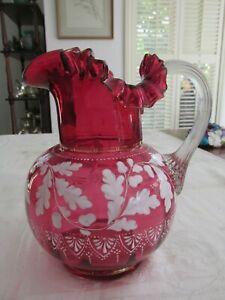 Antique Ruby / Cranberry Glass Large Jug with Enamel Acorn etc. Decoration Great