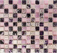 81 noirs Cristal Verre Mosaïque-Rose Vif