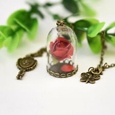 Disney Beauty and the Beast Enchanted Rose Inspire Glass Bottle Pendant Necklace
