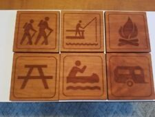 Drink Coasters, Camping Wood Coasters,  Set of 6 laser engraved