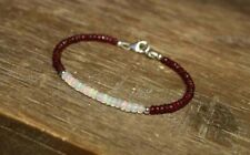 Natural Ruby & Ethiopian Opal Faceted Gemstone Beaded Bracelet 925 Silver Clasp