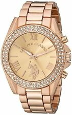 Accutime Watch Corp. U.S. Polo Assn. Womens Rose Gold-Tone W/ Crystals
