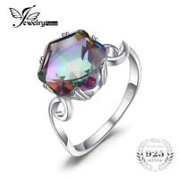 Genuine Rainbow Fire Mystic Topaz Ring Solid 925 Sterling Silver Jewelry Women