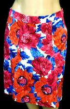 Talbots red pink floral print side zipper women's plus size paneled skirt 14