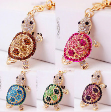Turtle Pendant Gold Keychain Cubic Zirconia Crystals Cute Key Ring Purse Jewelry