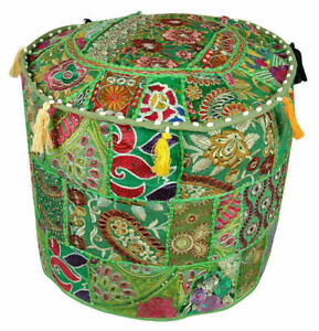 Decorative Cotton Indian Ottoman Pouffe Vintage Embroidered Patchwork Cover