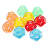 10pcs 12 dadi laterali D12 dadi poliedrici chiaro per Dungeons e Dragons Games
