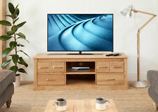 """Baumhaus Mobel Oak Widescreen Television Cabinet - Fits upto 85"""" TV - Solid Oak"""