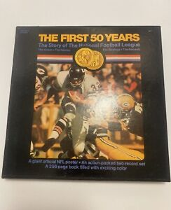 The First 50 Years: The Story Of The NFL W/ 2 LP Albums, Medal, Poster & Book