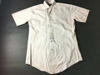 Orvis Mens Gray Short Sleeve Button Front Shirt Size Small