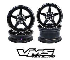 Vms Racing 5 Spoke Black Silver Front & Rear Drag Wheels Set 4X100/4X114 13x9(Fits: Scion xA)