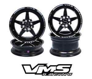 VMS RACING 5 SPOKE STAR BLACK FRONT & REAR DRAG WHEELS SET 4X100/4X114 15x8