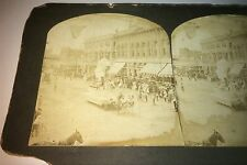 Rare Antique American Patriotic Parade! Floats! Bicycles! Flag Stereoview Photo!