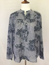 LUCKY BRAND Size S NEW W/Tags Popover Tunic Top Pinstripe & Floral Blue & White