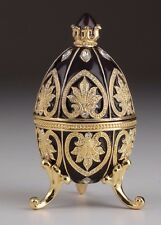 Black Faberge Egg Trinket Box & Clock Handmade by Keren Kopal Austrian  Crystals