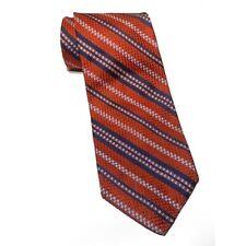 """Robert Talbott Men Dess Silk Tie Orange Blue Stripe 58"""" long 4"""" wide Made in USA"""