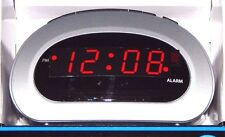 Mainstays LED Digital Alarm Clock Electric w/ Battery Backup Snooze Small Silver