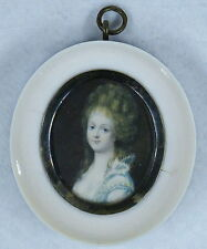 Antique Hand Painted Miniature Portrait of a Beautiful Lady