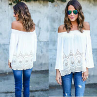 Sexy Women Strapless Off Shoulder Long Sleeve Embroidered Casual Blouse T-shirt