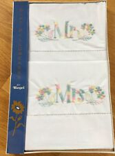 Vintage New embroidered Mr Mrs Riegel pillow case set boxed sweet chic wedding