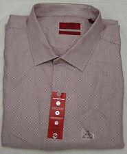Alfani Red Wine Micro Neat Fitted Long Sleeve Dress Shirt - 18 - 34-35
