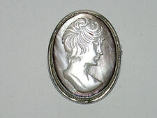 Beautiful Antique Victorian Solid 800 Coin Silver White Cameo Pin/Pendant
