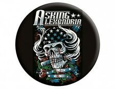 ASKING ALEXANDRIA skull hair - BUTTON BADGE official licensed merchandise