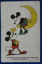 TOPOLINO E MINNIE  MICKY MOUSE and moon   postcard viaggiata 1931   f/p #20441