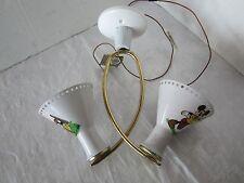 Disney Mid-Century Atomic Ceiling Lamp Fixture 2 cone aluminum Mickey 1961 Vtg