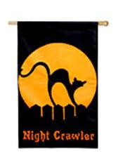 Halloween Black Cat Orange Moon Night Crawler Mini Garden Decorative Flag New