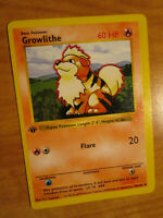 PL(Off-Center)1st edition Pokemon GROWLITHE Card BASE 28/102 PLAYED-Water-Dmg AP