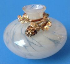 White Cluthra Art Glass Posey Bud Vase w Rhinestone Acorn Adornment Unsigned