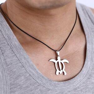Stainless Steel Silver Hallow Turtle Length Pendant Women Men Unisex Jewelry