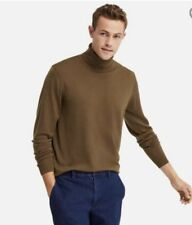 UNIQLO Men extra fine merino turtleneck long sleeved Sweater/ jumper Brown 3XL