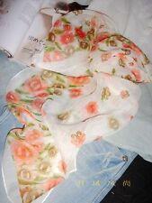 Jolie Echarpe Florale Rose/Blanc en Lin Apocynum de Xinjiang 160x50cm