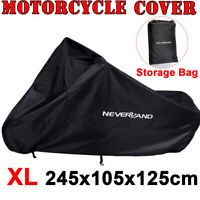 XL Waterproof Motorcycle Touring Motor Bike Cruiser Scooter Cover Outdoor Black
