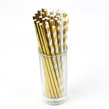 25Pcs Vintage Gold Stripe Foil Drinking Paper Straws Wedding Birthday Party Gift