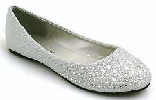 LADIES & KIDS FLAT PUMPS WOMENS GLITTER BALLET BALLERINA DOLLY BRIDAL SHOES SIZE