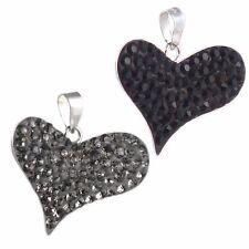 Anhänger Kettenanhänger Herz Silber 925 Zirkonia grau , schwarz für Halsketten